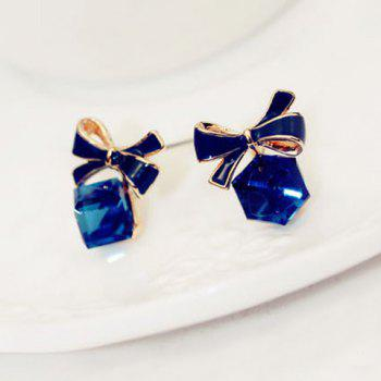 Pair of Delicate Cube Faux Crystal Pendant Bowknot Pattern Earrings For Women - AS THE PICTURE