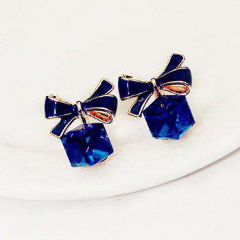 Pair of Delicate Cube Faux Crystal Pendant Bowknot Pattern Earrings For Women
