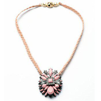 Delicate Multi-Color Geometric Faux Gem Decorated Floral Pendant Knitted Necklace For Women