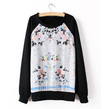 Floral Print Splicing Casual Style Scoop Neck Long Sleeve Women's Sweatshirt