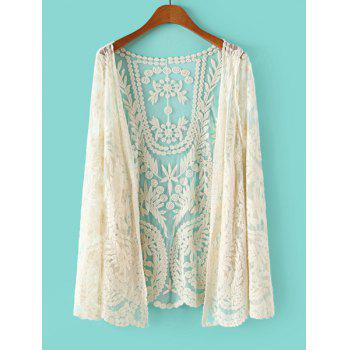 Buy Lace Crochet Flower See-Through Long Sleeve Stylish Women's Blouse OFF WHITE