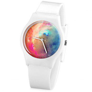 Stylish Quartz Watch Oil Painting Pattern Analog Indicate Rubber Watch Band for Women