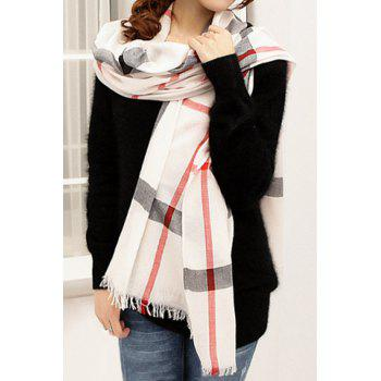 Stylish Chic Plaid Decorated Scarf For Women