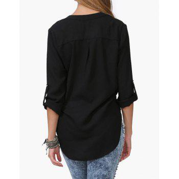 Loose Solid Color 1/2 Sleeve Stand-Up Collar Pullover Chiffon Blouse - BLACK XL