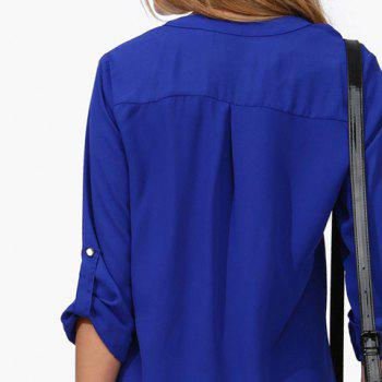 Loose Solid Color 1/2 Sleeve Stand-Up Collar Pullover Chiffon Blouse - BLUE L