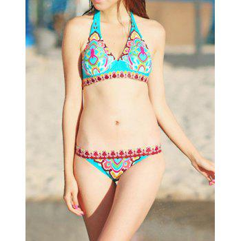 Attractive Printed Halterneck Bikini Set For Women