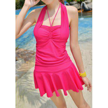Cute Halter Ruched Solid Color One-Piece Swimsuit For Women