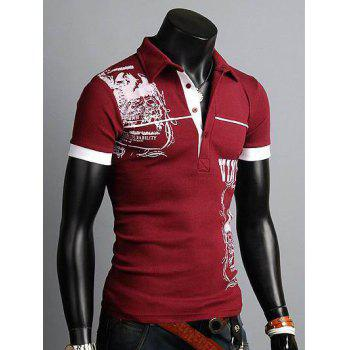 Turn-down Collar Totem Printed Polo Shirt - WINE RED WINE RED