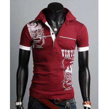 Buy Stylish Turn-down Collar Slimming Personality Totem Print Solid Color Short Sleeves Men's Polyester Polo Shirt WINE RED