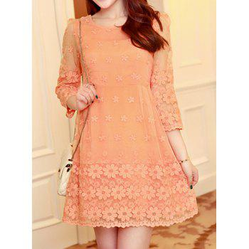 Elegant 3/4 Sleeve Jewel Neck Organza Dress For Women