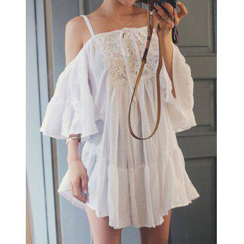 Sweet Spaghetti Strap Off-The-Shoulder Solid Color Spliced Women's Dress - WHITE WHITE