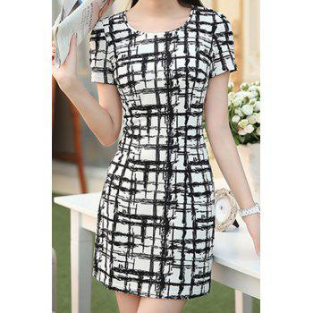 Stylish Jewel Neck Plaid Short Sleeve Dress For Women