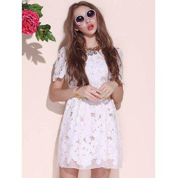 Charming Round Collar Floral Print Solid Color Women's Short Sleeve Cotton Blend Lace Dress