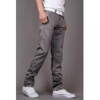 Fashion Style Zipper Fly Solid Color Slimming Houndstooth Embellished Pocket Narrow Feet Men's Cotton Pants - GRAY 29