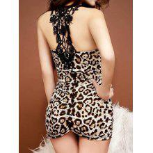 Lace Splicing Sleeveless V-Neck Hollow Out Design Leopard Print Dress