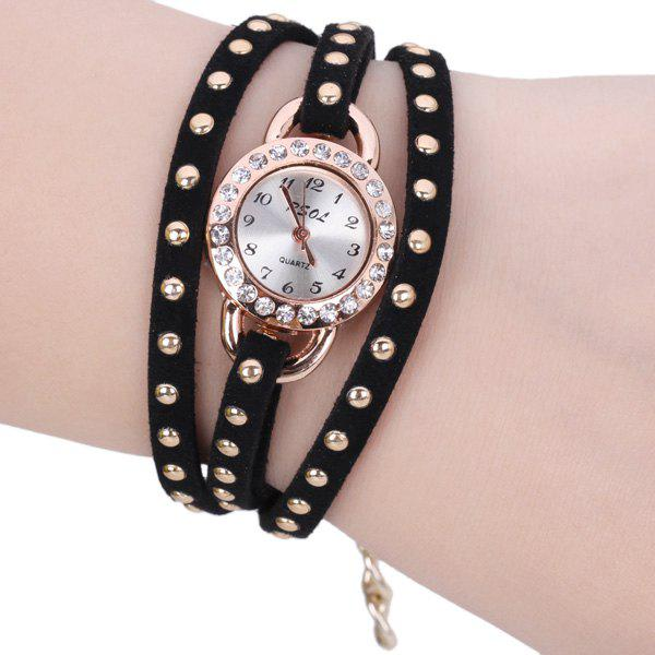 Superb Quartz Watch with Diamonds Round Dial Leather and Chain Watch Band for Women - BLACK