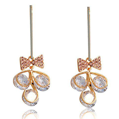 Pair of Cute Rhinestone Bowknot Pendant Earrings For Women - AS THE PICTURE