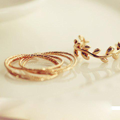 6 PCS of Stylish Chic Leaf Rings For Women - GOLDEN ONE SIZE