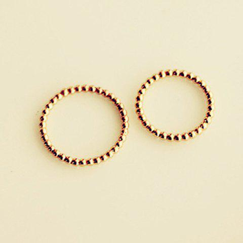 2 PCS of Stylish Chic Solid Color Round Rings For Women - GOLDEN ONE SIZE