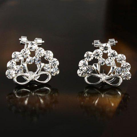Pair of Stylish Chic Solid Color Rhinestone Bowknot Earrings For Women - AS THE PICTURE