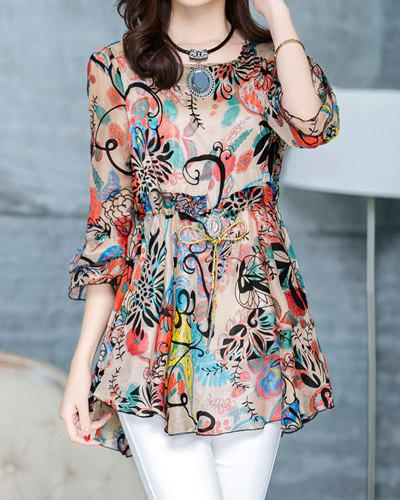 Women's Sophisticated Scoop Neck Full Print Chiffon T-Shirt - JACINTH XL
