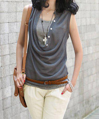 Stylish Draped Collar Slimming Solid Color T-Shirt Twinset For Women - DEEP GRAY ONE SIZE
