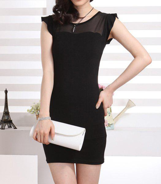 Voile Splicing Sweet Scoop Neck Packet Buttock Women's Dress - BLACK L