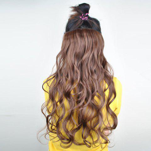 Stylish Long Wavy Fluffy Light Brown High Temperature Fiber Women's Hair Extension - LIGHT BROWN