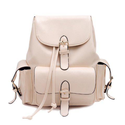 Preppy Solid Color and Buckle Design Satchel For Women - OFF WHITE