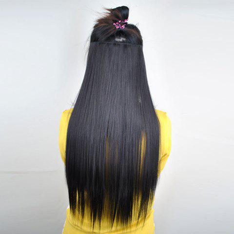 Pretty Black Brown Ovenproof Long Straight High Temperature Fiber Women's Hair Extension - BROWN