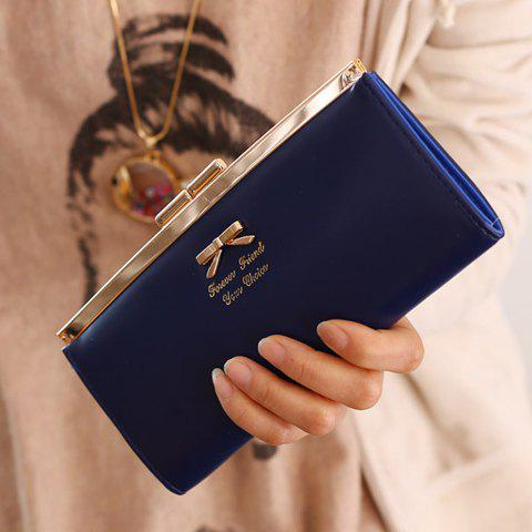 Sweet Bow and Solid Color Design Clutch Wallet For Women - DEEP BLUE