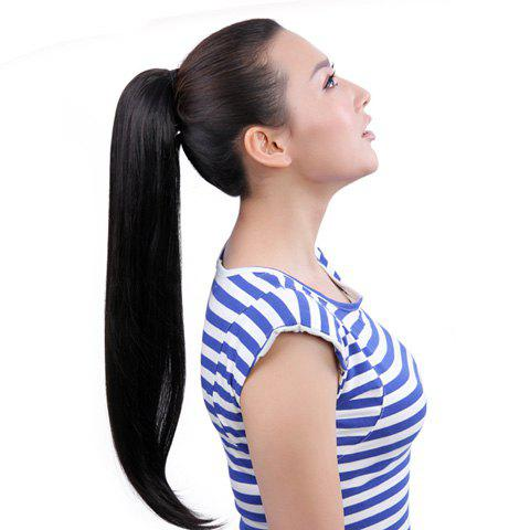 Simple Style Black Long Straight Fluffy High Temperature Fiber Women's Ponytail
