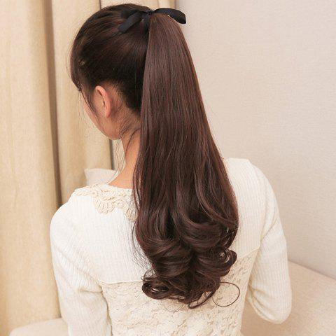 Fashion Style Maroon Fluffy Pear Long Curly High Temperature Fiber Women's Ponytail - MAROON