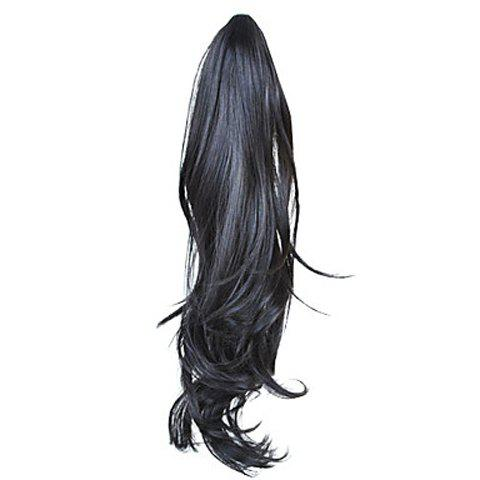 Fashion Style Black Long Wavy High Temperature Fiber Women's Ponytail