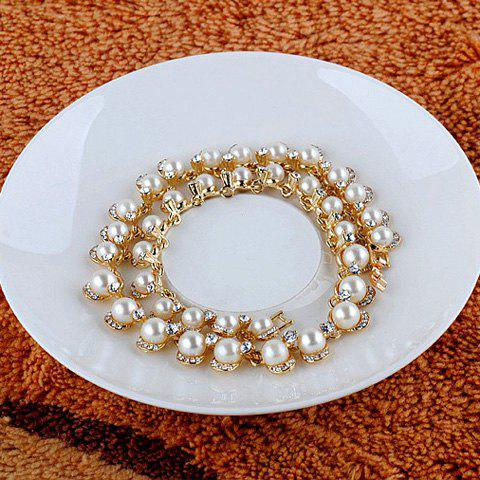 Chic Rhinestone And Pearl Embellished Necklace For Women - AS THE PICTURE