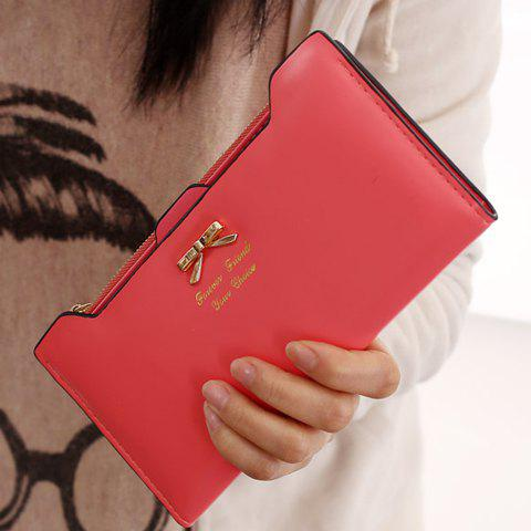 Sweet Bowknot and Solid Color Design Clutch Wallet For Women