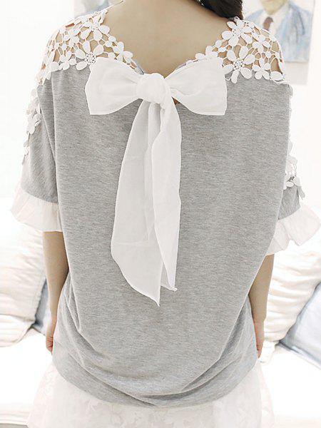 Stylish Jewel Neck Guipure Bow Embellished Flared Sleeve T-Shirt For Women - GRAY ONE SIZE