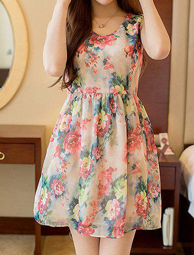 Tiny Floral Print Laconic Scoop Neck Sleeveless Women's Dress - YELLOW/RED M