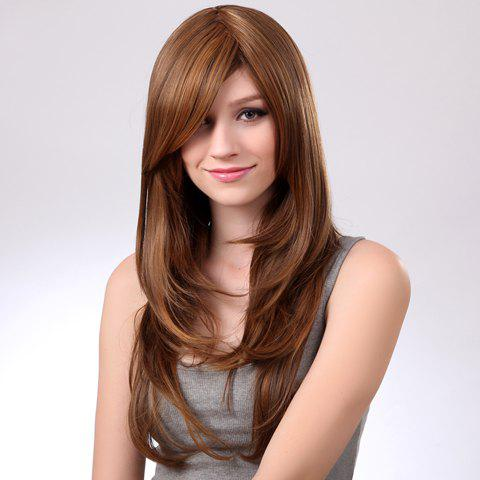 Fashionable Sexy Long Wavy Personality Inclined Bang Fluffy Light Brown Women's Synthetic Wig - LIGHT BROWN