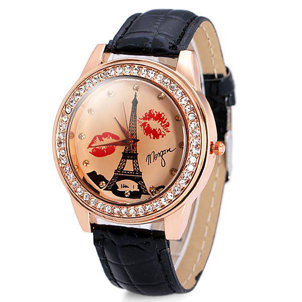 Genuine Quartz Watch with Diamonds Tower and Lip Analog Indicate and Leather Watchband for Women - BLACK