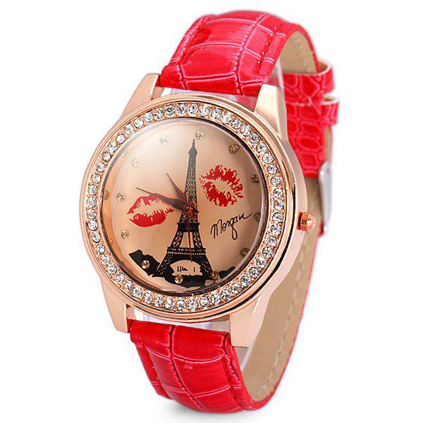 Genuine Quartz Watch with Diamonds Tower and Lip Analog Indicate and Leather Watchband for Women - RED