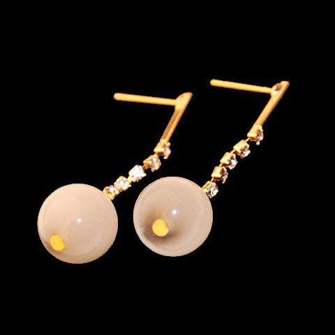 Pair of Pure Fresh Opal Rhinestone Round Shape Earrings For Women - AS THE PICTURE