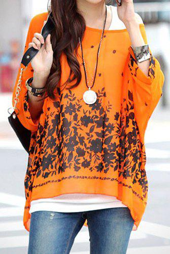 Floral Print Stylish Scoop Neck Batwing Sleeve Women's Blouse