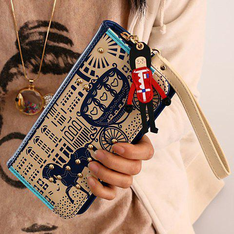 Sweet Horse and Color Block Design Clutch Wallet For Women - BLUE
