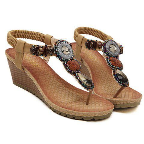 Bohemia Wedge and Beading Design Sandals For Women - APRICOT 39