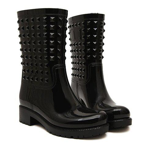 Trendy Solid Color and Rivets Design Rain Boots For Women - BLACK 38