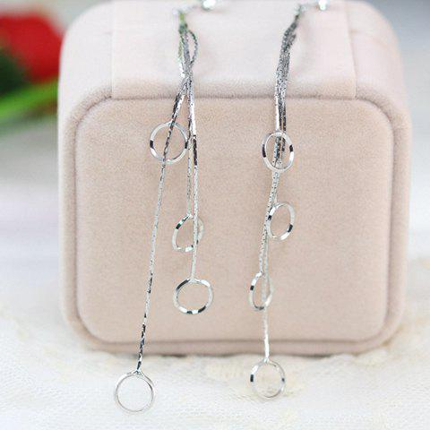 Pair of Stylish Chic Round Openwork Pendant Solid Color Earrings For Women - SILVER