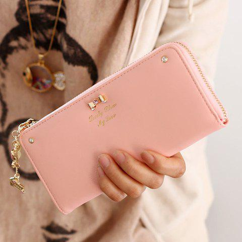 Sweet Bow and Pendant Design Clutch Wallet For Women - PINK