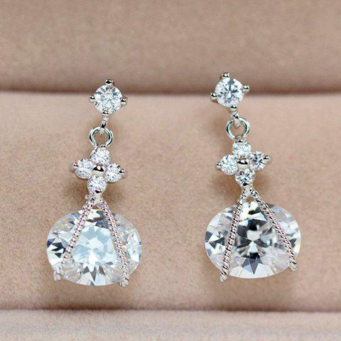 Pair of Stylish Chic Zircon Embellished Pendant Earrings For Women - SILVER