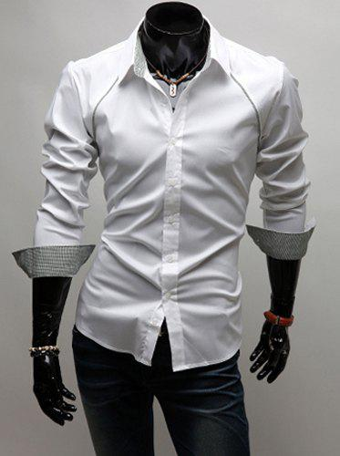 Korean Style Turn-down Collar Solid Color False Raglan and Checked Embellished Long Sleeves Men's Polyester Shirt - WHITE L
